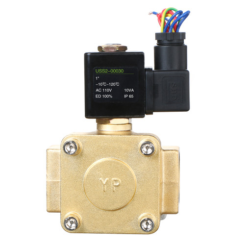 "U.S. Solid Electric Solenoid Valve- 1"" 110V AC 230PSI Solenoid Valve Brass Body Normally Closed, VITON SEAL"