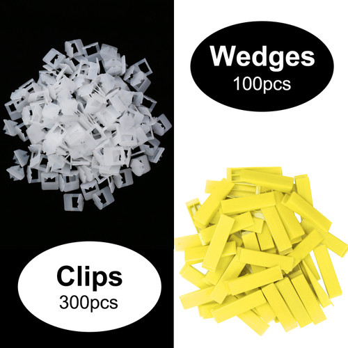 "U.S. Solid Tile Leveling System 1/8"" (3mm), 300pcs Clips, 100pcs Wedges, 1 Adjustable Clamp"