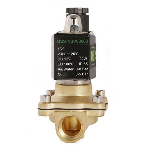 "U.S. Solid 1/2"" Brass Electric Solenoid Valve 12V DC Normally Closed VITON Air Water Oil Fuel"