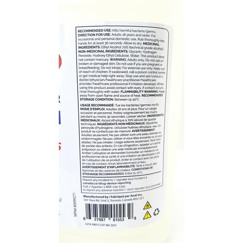 1 Gallon Hand Sanitizer Alcohol Gel 70% (3.78L)