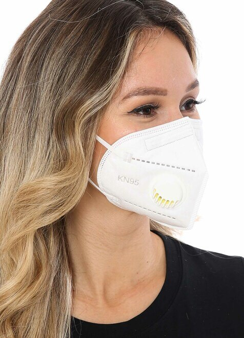 White KN95 Respiratory Masks 10/Box *** WITH VALVE ***
