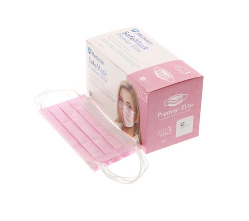 Medicom Safe Masks Premier Elite ASTM Level 3  Pink 50/Box