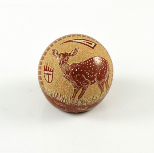 Miniature Pottery with Fawn by Joseph Lonewolf