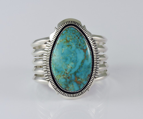 Modern Silver and Turquoise Cuff Bracelet by Begay