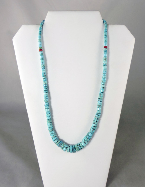 Old Style Red Mountain Turquoise Beads Necklace by Piki