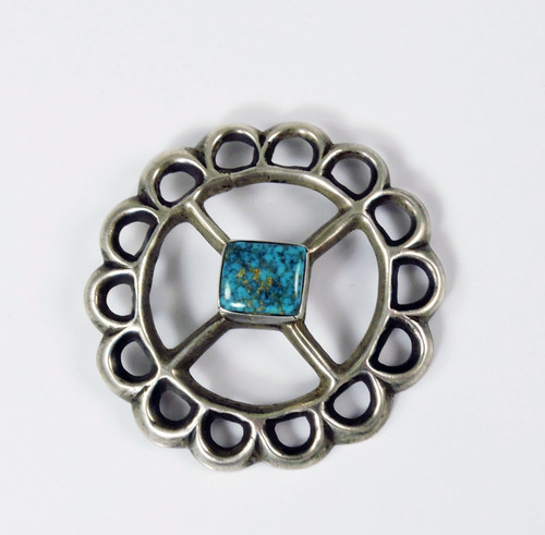 Tufa Cast Silver Pin Lone Mountain Turquoise