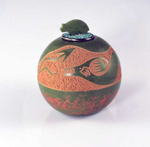Lidded Green Pottery Jar by Jennifer Sisneros TsePe