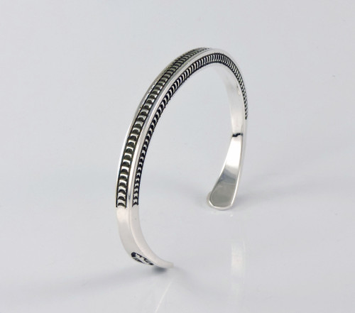 Tranquility Square Silver Cuff by Lyle Secatero