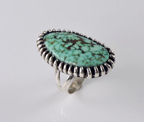 Large Kingman Turquoise Silver Ring Ernie Lister