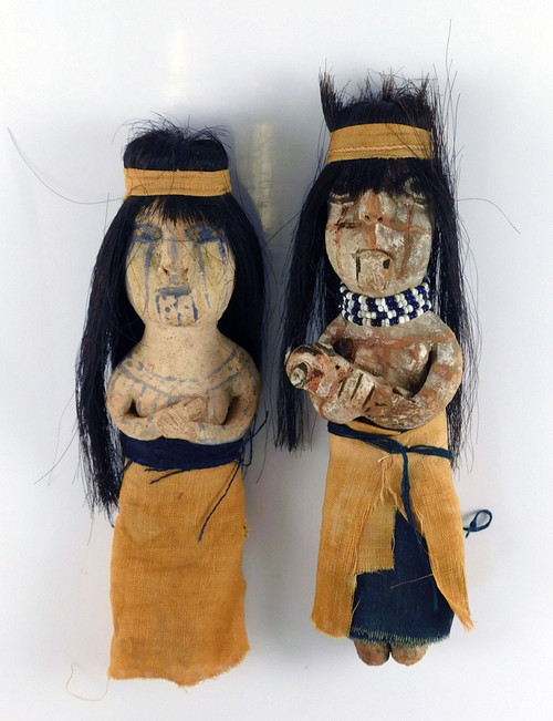 Antique Mohave Indian Pottery Couple with Baby