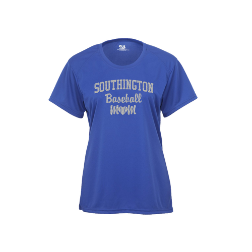 Southington Baseball Mom Short Sleeve Glitter Logo