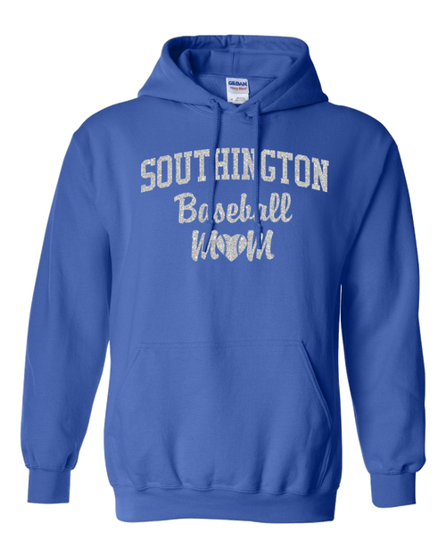 Southington Baseball Mom Hoodie Glitter Logo