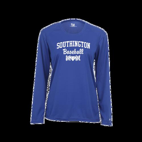 Southington Baseball Mom Long Sleeve White Logo