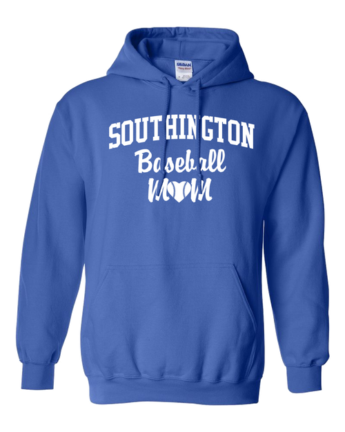 Southington Baseball Mom Hoodie White Logo