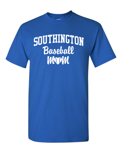 Southington Baseball Mom 50/50 T-Shirt White Logo