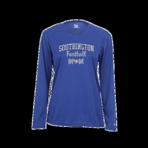 Southington Football Mom Long Sleeve Glitter Logo