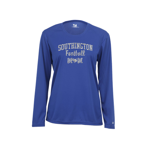 Southington Football Mom Long Sleeve Glitter Logo