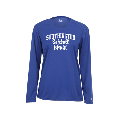 Southington Softball Mom Long Sleeve White Logo