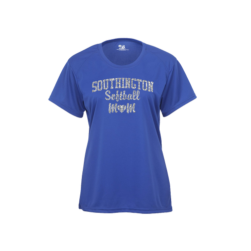 Southington Softball Mom Short Sleeve Glitter Logo
