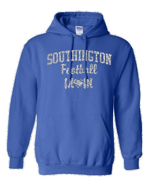 Southington Football Mom Hoodie Glitter Logo