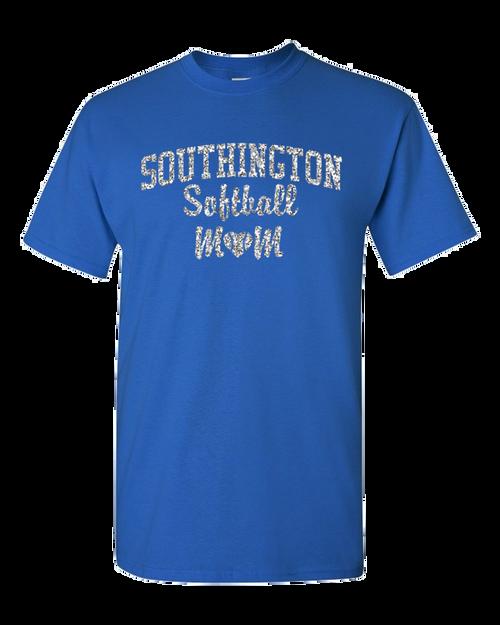 Southington Softball Mom 50/50 T-Shirt Glitter Logo