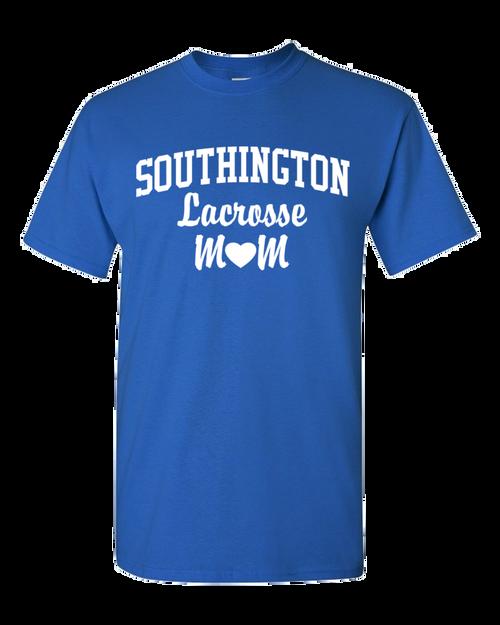 Southington Lacrosse Mom 50/50 T-Shirt White Logo