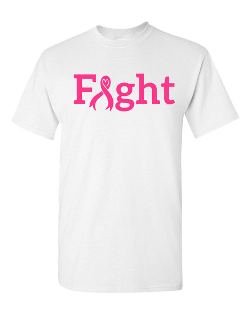 FIGHT White T-Shirt with Neon Pink Logo
