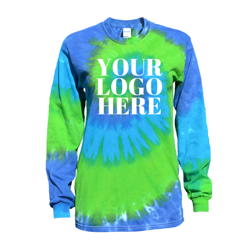 Blue Green Twist Tie Dye Long Sleeve