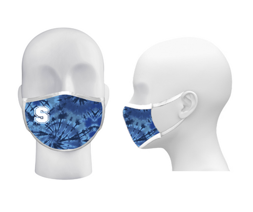 """3-Ply Royal Tie Dye Face Mask with """"S"""" Logo"""