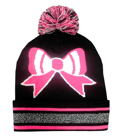 Pink Bow Pom Pom Beanie