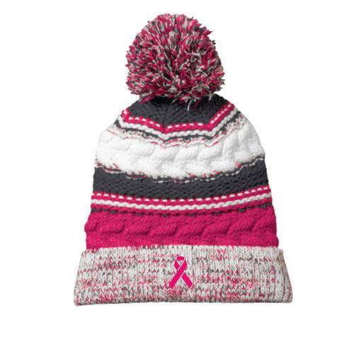 Pink Ribbon Pom Pom Hat