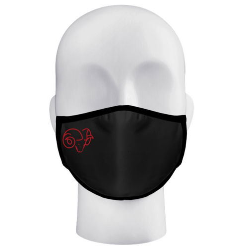 Ram Band 3-Ply Black Face Mask with Red Ram Head