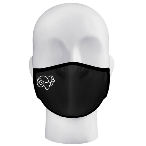 Ram Band 3-Ply Black Mask with White Ram Head