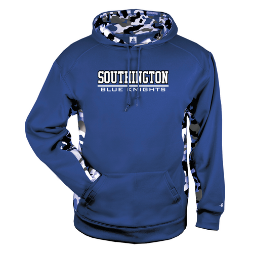 Southington Blue Knights Camo Color Block Moisture Management Hoody