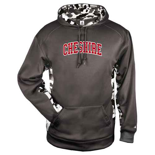 Cheshire Arched Camo Color Block Graphite Moisture Management Hoody