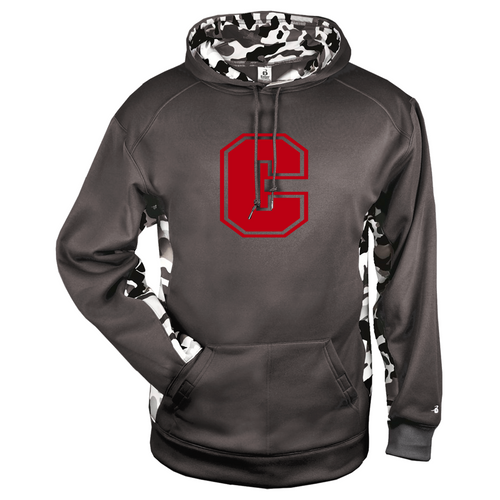 "Cheshire Big ""C"" Camo Color Block Graphite Moisture Management Hoody"