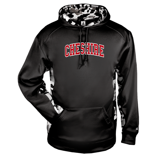 Cheshire Arched Camo Color Block Black Moisture Management Hoody