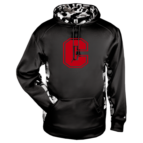 "Cheshire Big ""C"" Camo Color Block Black Moisture Management Hoody"