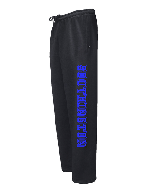 Southington Black Sweatpant with Royal Leg Logo