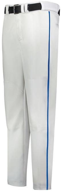 White Long Baseball Pant with Royal Piping