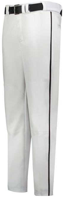 White Long Baseball Pant with Black Piping