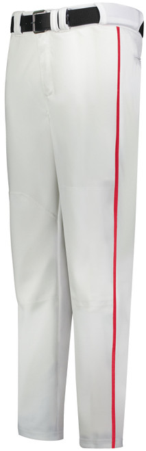 White Long Baseball Pant with Red Piping