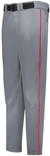 Gray Long Baseball Pant with Red Piping