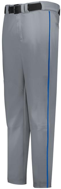 Gray Long Baseball Pant with Royal Piping