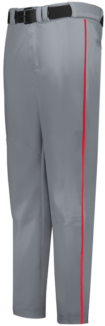 Cheshire Baseball Gray Long Baseball Pant with Red Piping