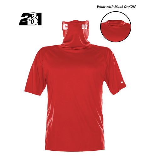 Cheshire Baseball Red Moisture Management Shirt with  Attached Face Mask