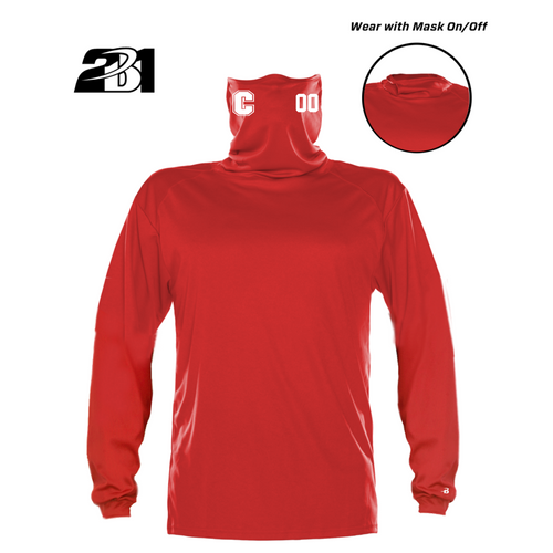 Cheshire Baseball Red Moisture Management Long Sleeve with  Attached Face Mask