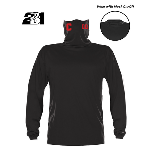 Cheshire Baseball Black Moisture Management Long Sleeve with  Attached Face Mask