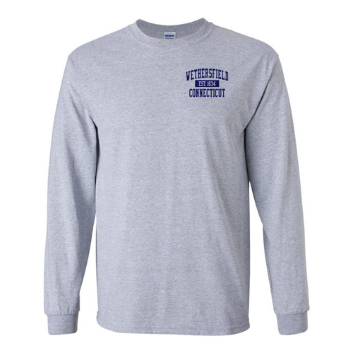 Wethersfield Sport Gray Long Sleeve with Left Chest Logo