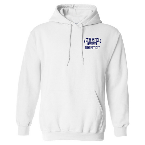 Wethersfield White Hooded Sweatshirt with Left Chest Logo